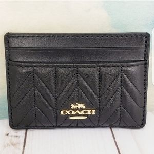 COACH Card Case Quilted Calf Leather